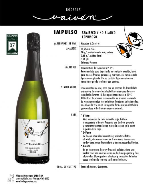 Semiseco Vino Blanco Espumoso